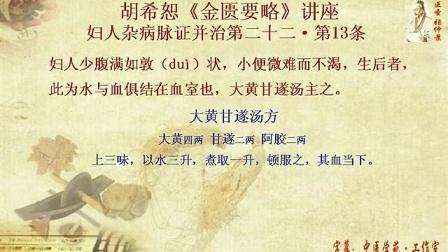 457胡希恕《金匮要略》讲座24-22-13(大黄甘遂汤)...