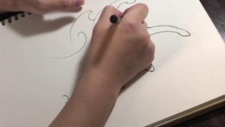 [纹身教程]传统水浪画法(一) 纹身手稿基础教学
