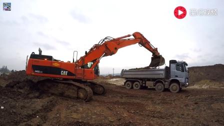 实拍: 卡特345C挖掘机挖土装车过程