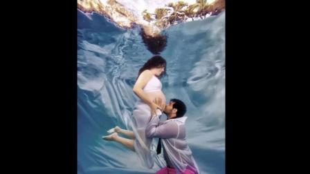 美国辣妈拍水中孕育写真
