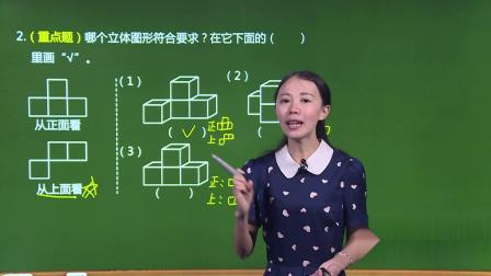 人教版-数学-基础版-五年级(下)-易巧-第1单元 观察物体(三)-2.教材知识全解3·知识达标