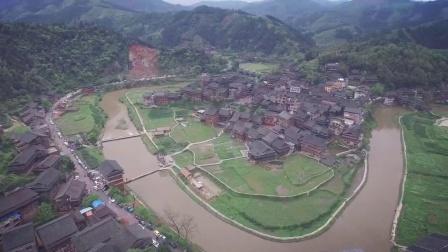 无人机航拍广西柳州市三江侗族自治县程阳八寨景区