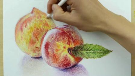 彩铅画静物:桃子组合