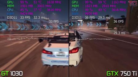 GT1030 vs GTX750Ti-8部游戏测试对比