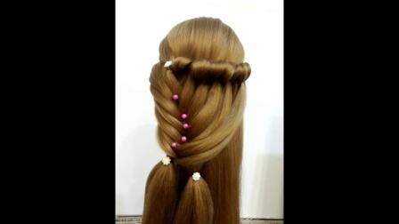 儿童儿童编发碎发扎发莫西干儿童编发苹果头短发娇小辫子