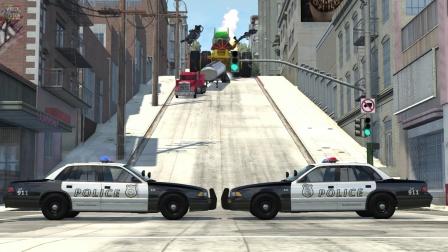 Beamng模拟巨型卡车警车碰撞摧毁汽车