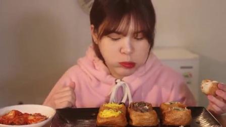 韩国大胃王豪放派, 吃油豆腐寿司, 这味道肯定很特别, 看着超想吃