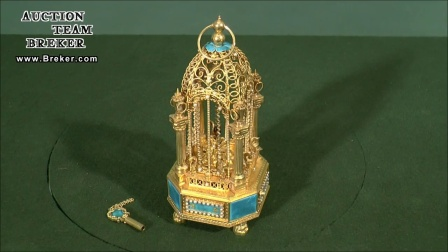 Lot 840 Fine Miniature Singing Bird in Gilt-Silver Cage Auto
