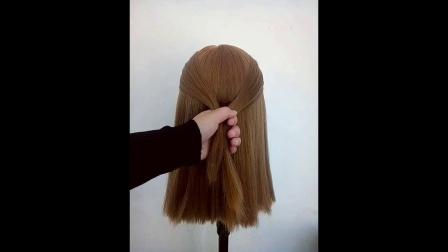 蘑菇头辫子气质发型苹果头偏分头扎发编发教程
