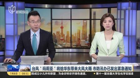 """台风""""玛莉亚""""将给华东带来大风大雨  市防汛办已发出紧急通知 上海早晨 180708"""