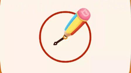 儿童简笔画闹钟的画法:先画一个圆圈圈,再画小圆坐中间,分针时针圆上连
