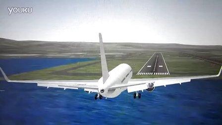 韩亚航空动画模拟波音777短着陆