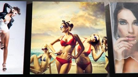 AE模板优雅3D图片展览墙壁玻璃框架公司作品LOGO动画视频墙模板5958349 Modern Photo Gallery