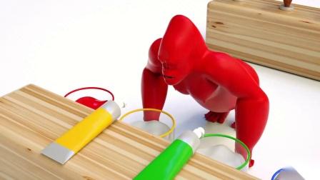 猩猩吃冰淇淋游戏 认识颜色婴幼儿早教益智动画玩具英语启蒙