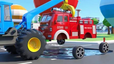 汽车卡通 大吊车给消防车警车救护车校车换上可爱足球轮胎.avi
