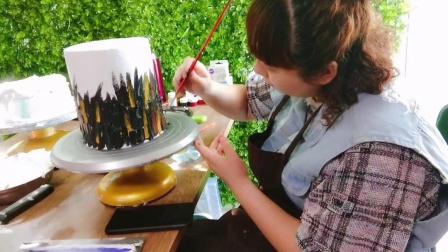 网红主题艾素糖私房生日蛋糕培训学习技术  甘纳许刷金淋面课程
