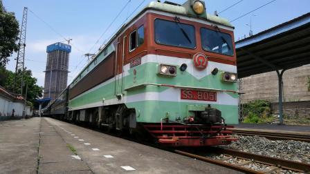 (启机 鸣笛 轮轨声)SS3牵引5629(重庆 遵义西)綦江站发车