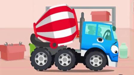 汽车动漫 萌萌的挖掘机拖车拯救掉进泥坑的水泥搅拌车.avi