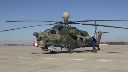 俄军于克拉斯诺达尔地区进行Mi-28UB直升机训练飞行