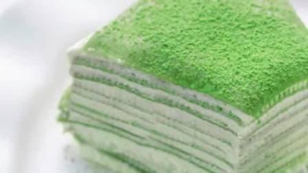 小清新抹茶千层蛋糕 马斯卡彭奶油霜夹心