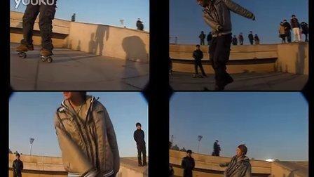 [freeline skates] 不抓板下台阶慢动作 小羽大连漂移板友会