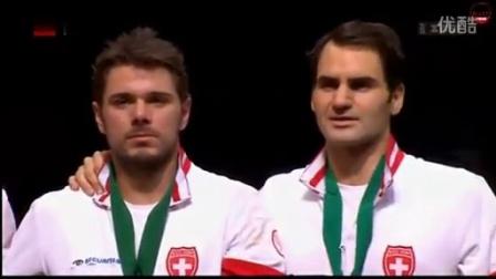 瑞士勇夺2014戴维斯杯冠军领奖杯唱国歌