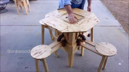 哇,创客牛人发明不可思议的折叠桌椅!