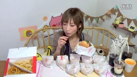 [木下大胃王] 副标题 1122 MOS Burger's限量版培根&奶酪汉堡三明治×5,汉堡包×5..etc,6932kcal