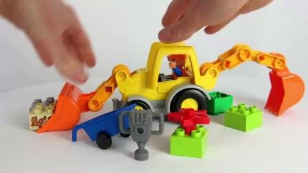 挖掘机工作视频  儿童动画片 工程车
