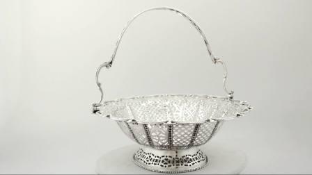 純銀蛋糕籃 - 古董維多利亞時代(1872年)W9691