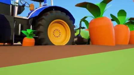 工程车卡通动画:拖拉机用什么肥料,种出这么大的萝卜.avi