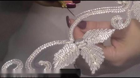蕾丝花边-蕾丝面料纯手工加珠的蕾丝条码