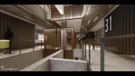 九号设计 李东灿 作品《广州西城智汇Park-室内设计》3D动画影片