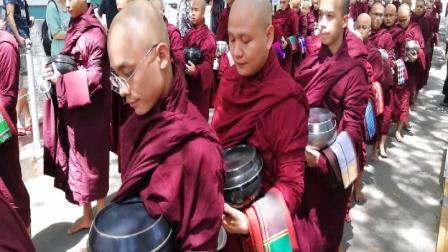 缅甸千人僧饭奇景