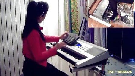 独创双排三排键手风琴伴奏式电子琴脚电子鼓 歌唱祖国 丁悦