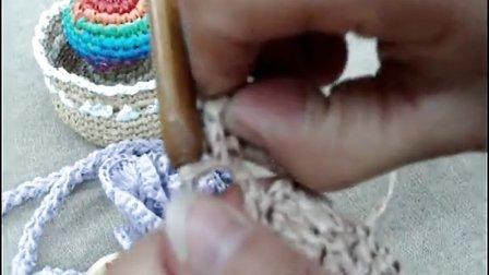 第17集 镶嵌立体花瓣的垫子C695 许红霞棉草拉菲钩编教学视频