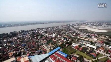 包直升机航拍整个万象(老挝首都)