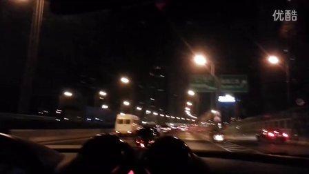 H6柴油车晚上上海高架路噪音测试