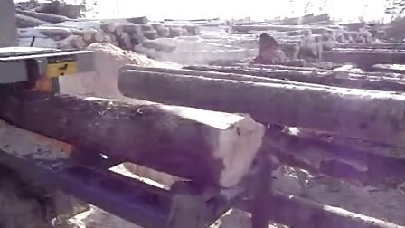 Multi-chip sawing logs lumber in a sawmill video