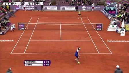 WTA比利时公开赛:郑洁2:0击败头号种子沃兹尼亚奇晋级八强