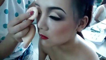 运城市阿涛发型化妆艺术培训学校化妆造型班实践视频