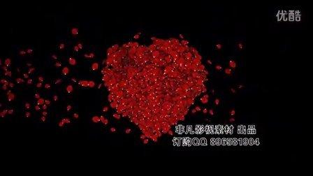 B174 心形玫瑰花瓣散落爱心LED高清背景
