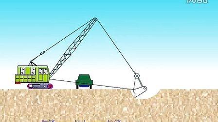 【全套建筑工程施工动画+施工工艺】a拉铲挖土流程