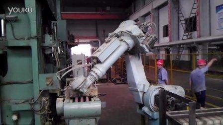 大石桥青花集团耐火砖生产机器手实地拍摄