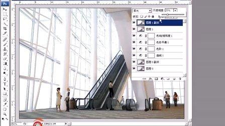 办公楼电梯过厅渲染效果的后期处理