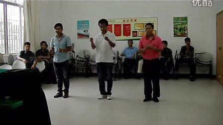 阳春东湖国际酒店员工礼仪培训现场。保安部。