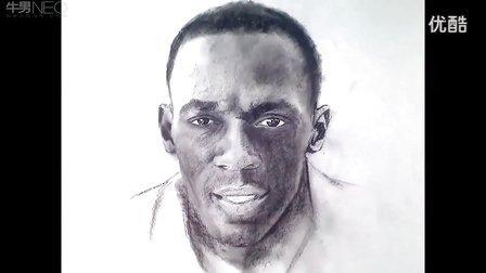 素描摄影地球上跑的最快人博尔特素描头像教学视频
