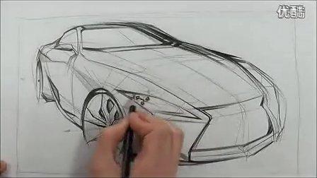雷克萨斯汽车设计马克笔手绘视频教程1 高清