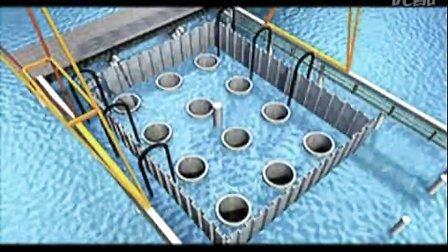 拉森钢板桩水中墩围堰3D演示
