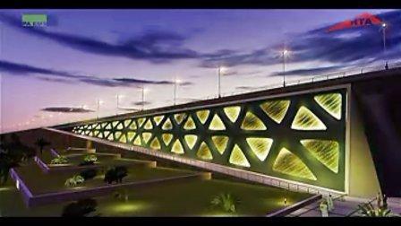 天美影作品-桥梁夜景灯光三维动画模拟